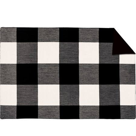 "Placemat - Black Buff Check - 19"" x 13"" - Cotton"
