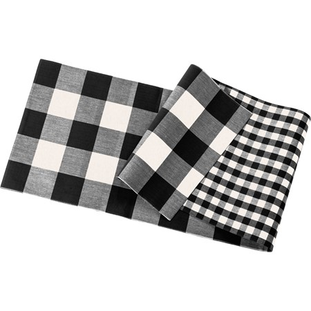 "Runner - Black Buff Check - 56"" x 15"" - Cotton"