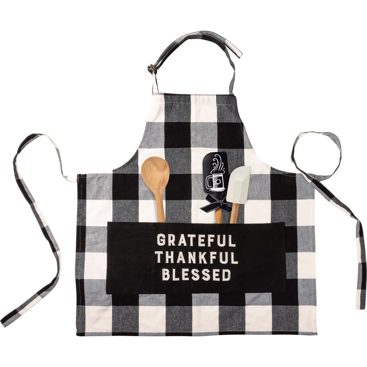"Apron - Grateful Thankful Blessed - 27.50"" x 28"" - Cotton, Polyester, Metal"