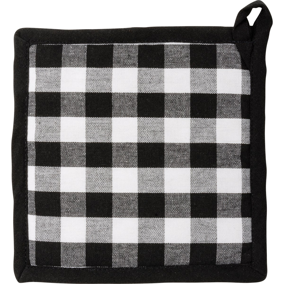"Kitchen Set - Black Buff Check - 7"" x 13"", 8"" x 8"" - Cotton"