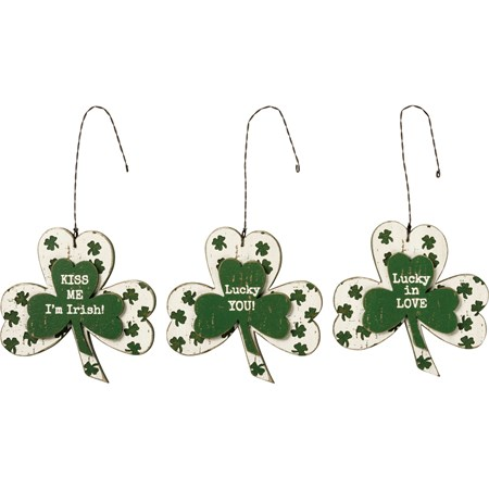 "Ornament Set - Shamrock - 3"" x 3"" x 0.25"" - Wood, Wire"