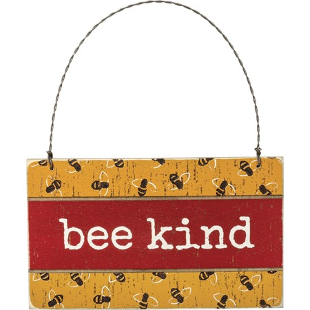 "Ornament - Bee Kind - 5"" x 3"" x 0.25"" - Wood, Wire"