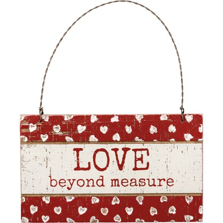 "Ornament - Love Beyond Measure - 5"" x 3"" x 0.25"" - Wood, Wire"