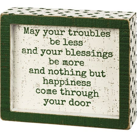"Inset Box Sign - May Your Blessings Be More - 6"" x 5"" x 1.75"" - Wood"