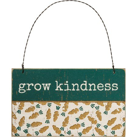 "Ornament - Grow Kindness - 5"" x 3"" x 0.25"" - Wood, Wire"