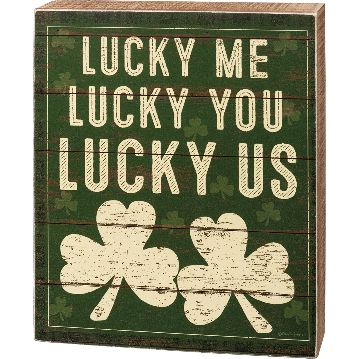 "Box Sign - Lucky Me Lucky You Lucky Us - 6"" x 7.25"" x 1.75"" - Wood, Paper"