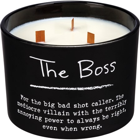 "Jar Candle - The Boss - 4.50"" Diameter x 3.50"" - Glass, Soy Wax, Wood"