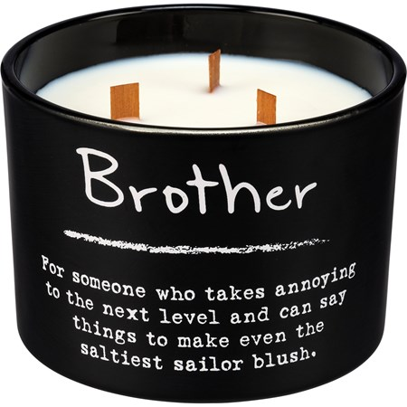 "Jar Candle - Brother - 4.50"" Diameter x 3.50"" - Glass, Soy Wax, Wood"