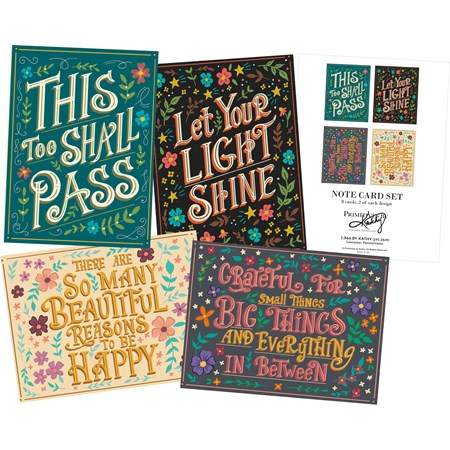 "Note Card Set - Positivity - 4.25"" x 5.50"" - Paper"