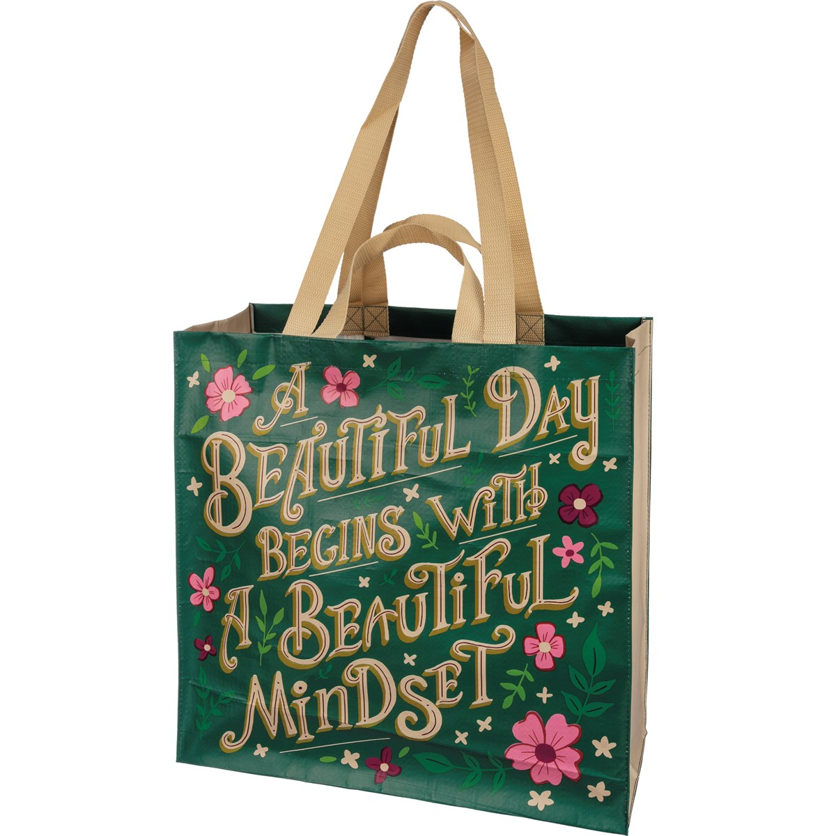"Market Tote - A Beautiful Day - 15.50"" x 15.25"" x 6"" - Post-Consumer Material, Nylon"