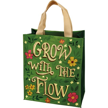 "Daily Tote - Grow With The Flow - 8.75"" x 10.25"" x 4.75"" - Post-Consumer Material, Nylon"