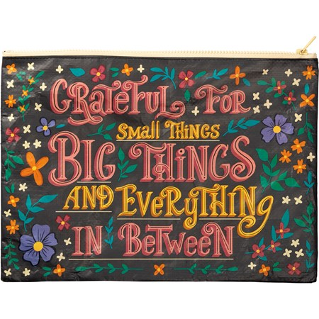 "Zipper Folder - Grateful For Small Things - 14.25"" x 10"" - Post-Consumer Material, Metal"