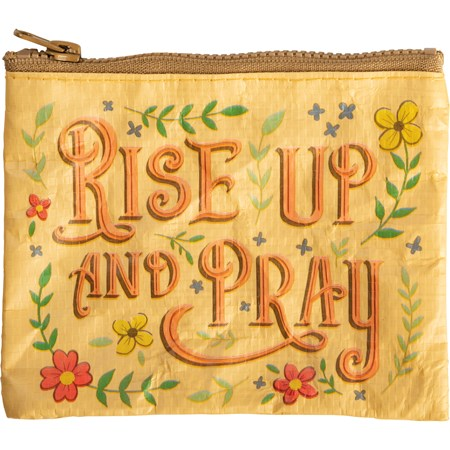 "Zipper Wallet - Rise Up And Pray - 5.25"" x 4.25"" - Post-Consumer Material, Metal"