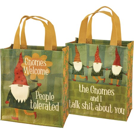 "Daily Tote - Gnomes Welcome People Tolerated - 8.75"" x 10.25"" x 4.75"" - Post-Consumer Material, Nylon"