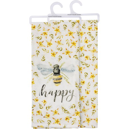 "Dish Towel - Bee Happy - 18"" x 28"" - Cotton"