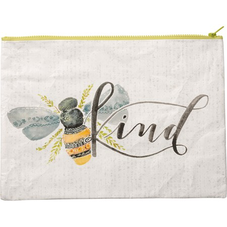 "Zipper Folder - Bee Kind - 14.25"" x 10"" - Post-Consumer Material, Metal"