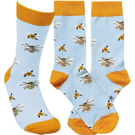 Socks - Bee  - One Size Fits Most - Cotton, Nylon, Spandex
