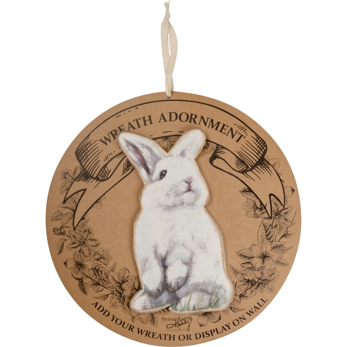 "Wreath Insert - Rabbit - 6"" x 10"" x 0.25"", Backer card: 14"" Diameter - Wood"