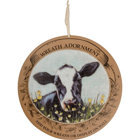 "Wreath Insert - Cow - 11"" x 10"" x 0.25"", Backer card: 14"" Diameter - Wood"