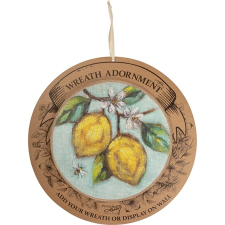 "Wreath Insert - Lemon - 10"" Diameter x 0.25"", Backer card: 14"" Diameter - Wood"