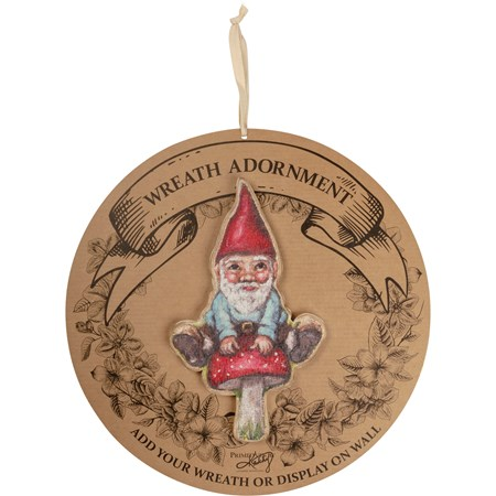 "Wreath Insert - Gnome - 6"" x 10"" x 0.25"", Backer card: 14"" Diameter - Wood"