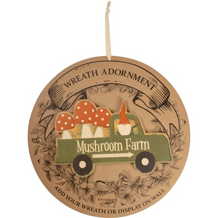 "Wreath Insert - Mushroom Farm - 10"" x 6.50"" x 0.25"", Backer card: 14"" Diameter - Wood, Paper"
