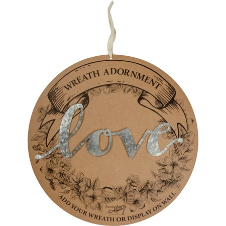 "Wreath Insert - Love - 12"" x 4.50"" x 0.25"", Backer card: 14"" Diameter - Metal"