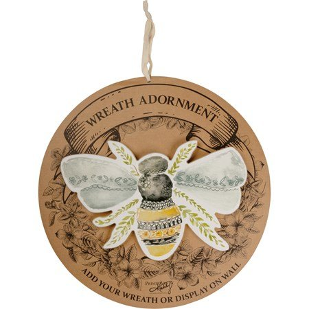 "Wreath Insert - Bee - 11"" x 7.25"" x 0.25"", Backer card: 14"" Diameter - Wood, Paper"