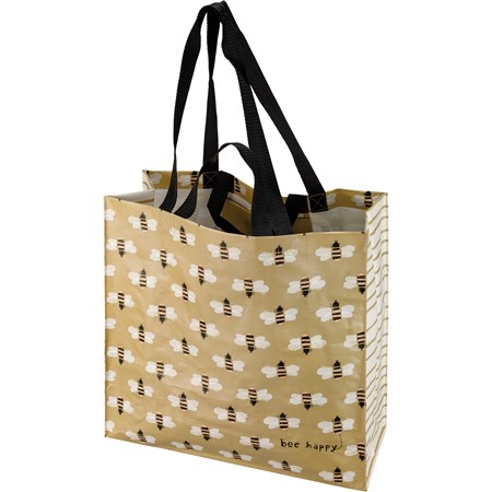 "Market Tote - Bee Happy - 15.50"" x 15.25"" x 6"" - Post-Consumer Material, Nylon"