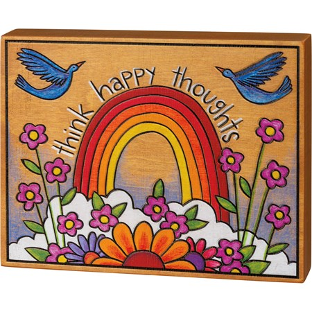 "Block Sign - Think Happy Thoughts - 7"" x 5.50"" x 1"" - Wood"