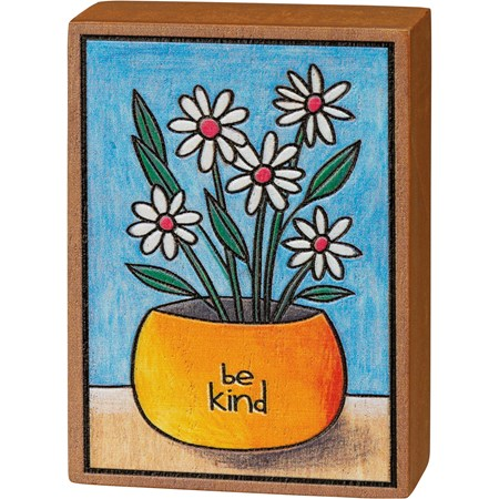 "Block Sign - Be Kind - 2.50"" x 3.50"" x 1"" - Wood"