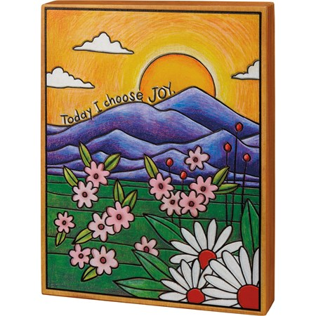 "Box Sign - Today I Choose Joy - 9"" x 12"" x 1.75"" - Wood"
