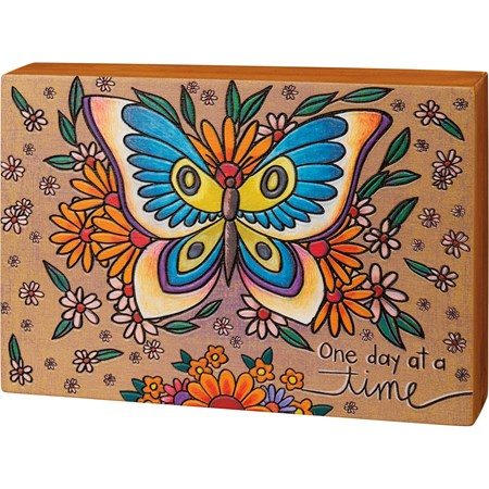 "Box Sign - Butterfly - One Day At A Time - 10"" x 7"" x 1.75"" - Wood"