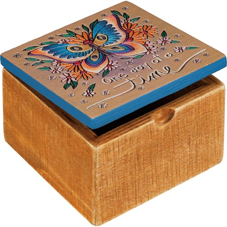 "Hinged Box - Butterfly - One Day At A Time - 4"" x 4"" x 2.75"" - Wood, Metal"
