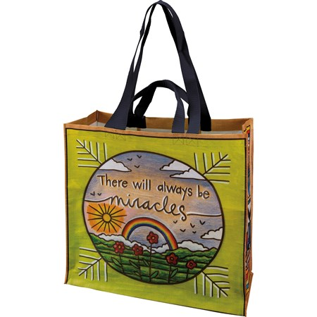 "Market Tote - There Will Always Be Miracles - 15.50"" x 15.25"" x 6"" - Post-Consumer Material, Nylon"