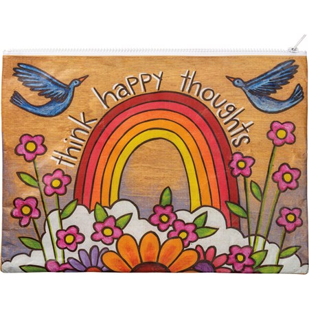 "Zipper Folder - Think Happy Thoughts - 14.25"" x 10"" - Post-Consumer Material, Metal"