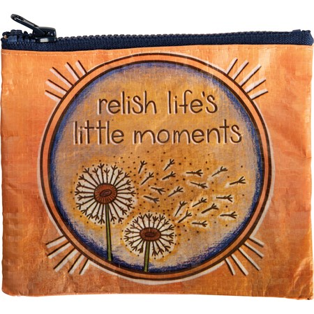 "Zipper Wallet - Relish Life's Little Moments - 5.25"" x 4.25"" - Post-Consumer Material, Metal"