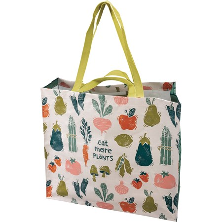 "Shopping Tote - Eat More Plants - 19.50"" x 17.50"" x 7"" - Post-Consumer Material, Nylon"