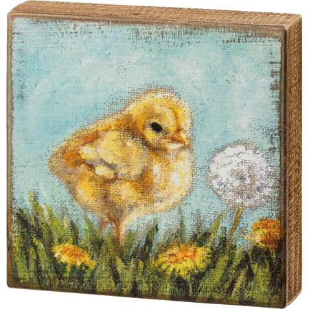 "Box Sign - Chick - 8"" x 8"" x 1.75"" - Wood"