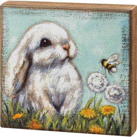 "Box Sign - White Bunny - 10"" x 9.50"" x 1.75"" - Wood"
