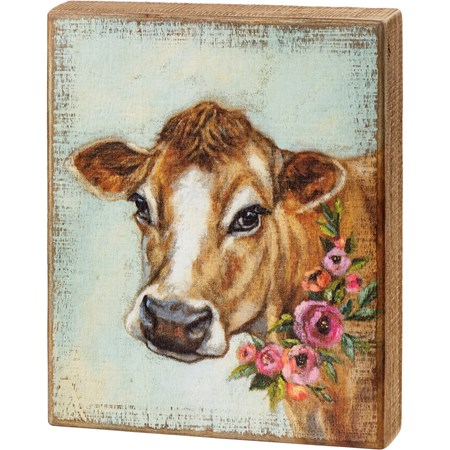 "Box Sign - Cow Floral - 8"" x 10"" x 1.75"" - Wood"
