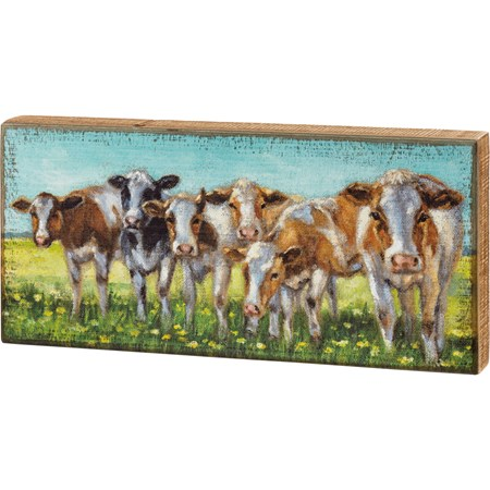 "Box Sign - Cow Rows - 16"" x 7.50"" x 1.75"" - Wood"