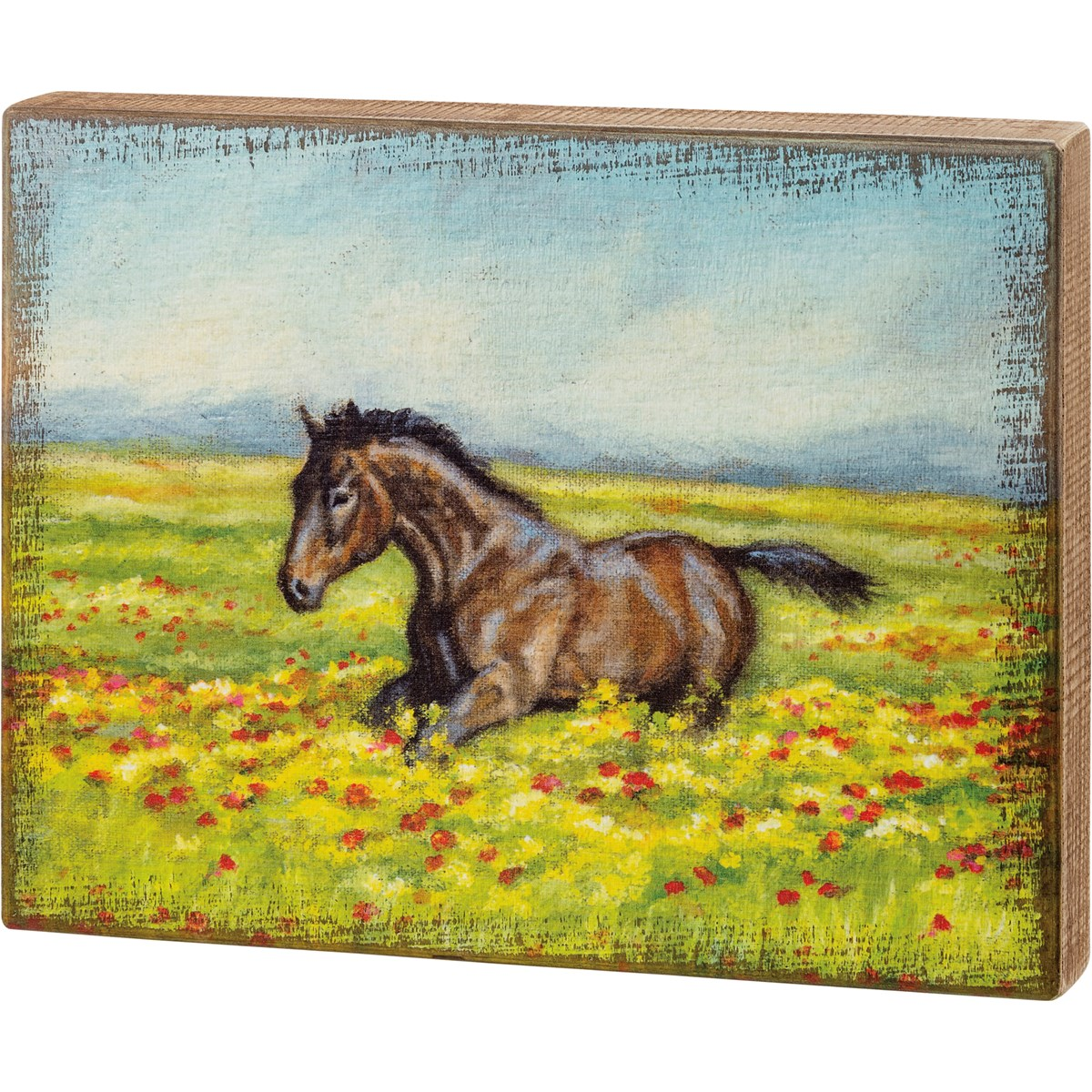 "Box Sign - Horse In Field - 14"" x 11"" x 1.75"" - Wood"