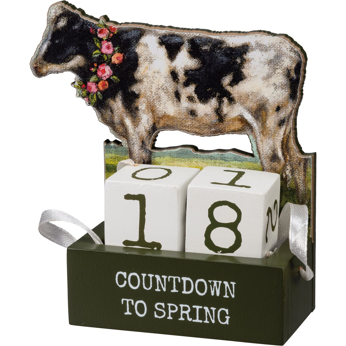 "Block Countdown - Cow - Countdown To Spring - 4.75"" x 4.75"" x 2.50"" - Wood, Paper, Fabric"