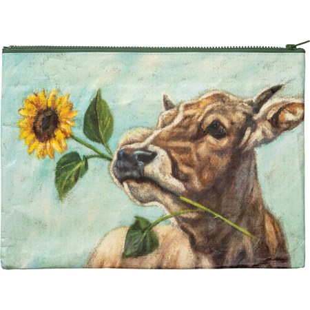 "Zipper Folder - Cow Sunflower - 14.25"" x 10"" - Post-Consumer Material, Metal"