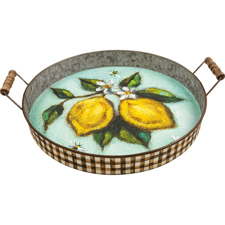 "Tray - Lemons - 17.50"" x 15.50"" x 3.75"" - Metal, Paper, Wood"