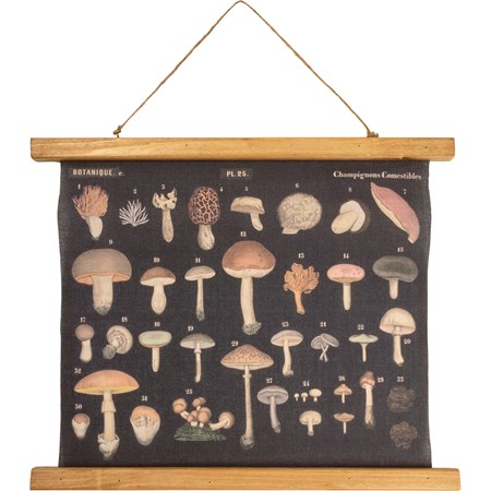 "Wall Decor - Mushrooms - 19.25"" x 15.75"" x 0.75"" - Canvas, Wood, Cotton"