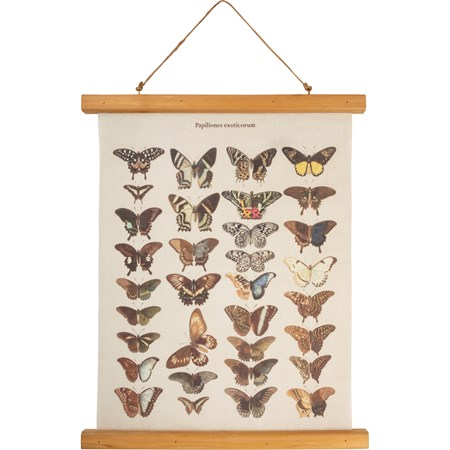 "Wall Decor - Butterfly - 15.75"" x 19.25"" x 0.75"" - Canvas, Wood, Cotton"