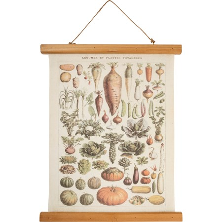 "Wall Decor - Vegetables - 15.75"" x 19.25"" x 0.75"" - Canvas, Wood, Cotton"