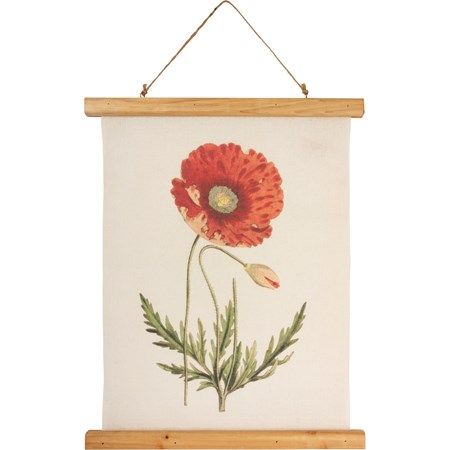 "Wall Decor - Poppy - 15.75"" x 19.25"" x 0.75"" - Canvas, Wood, Cotton"